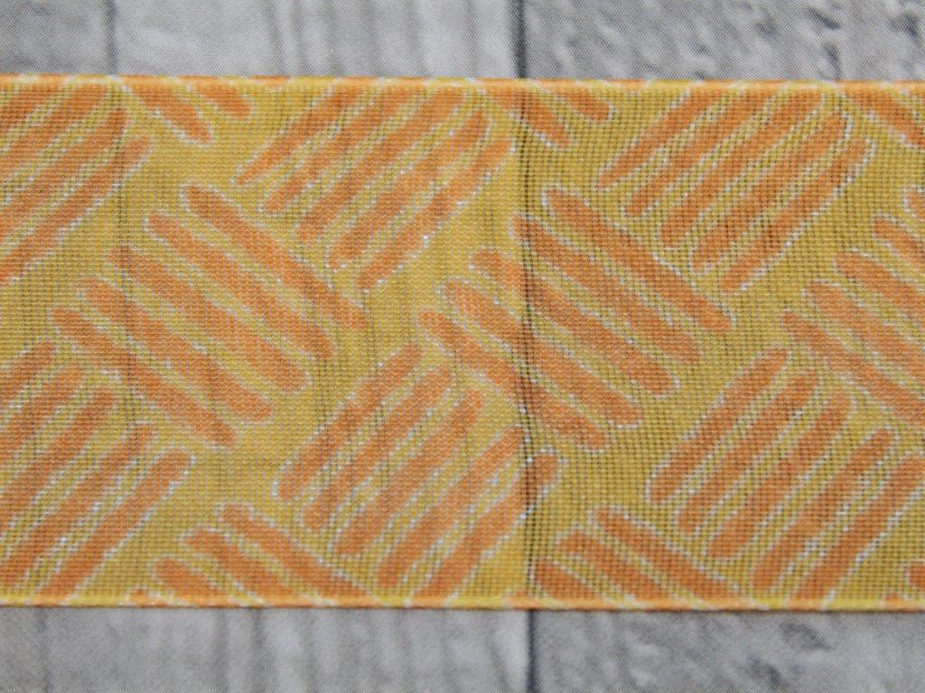 Stuha 40mm čárky/oranžová