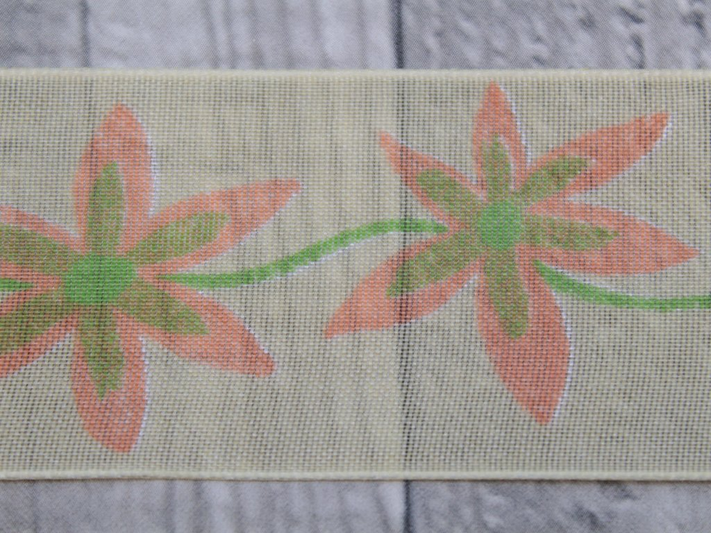 Stuha 40mm květ/lososová