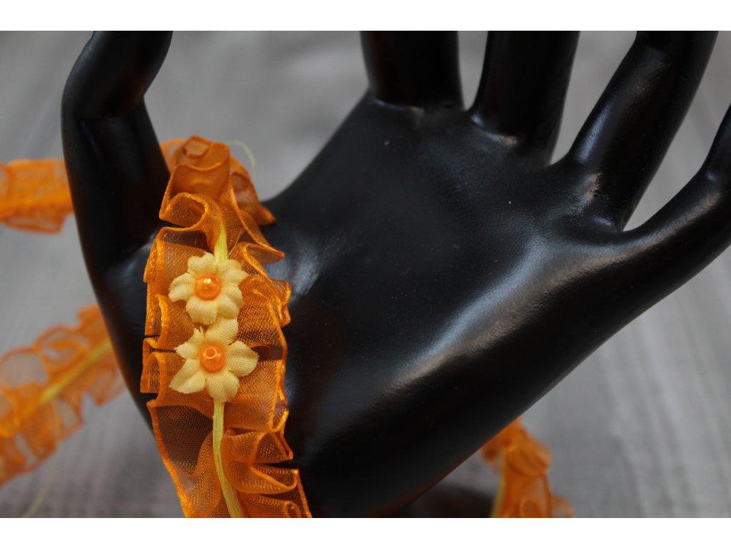 Stuha řasená/oranžová