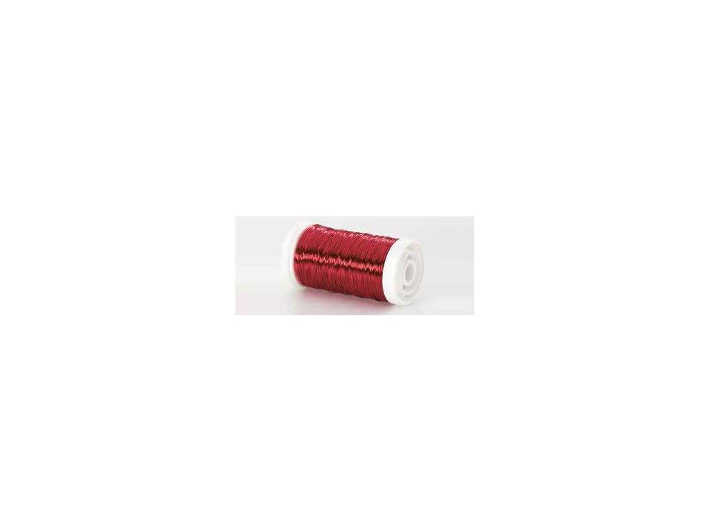 Drátek hladký červená tmavá 0,3mm