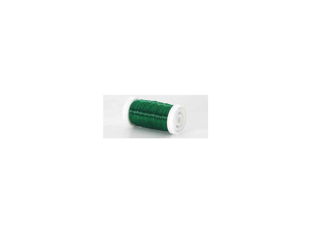 Drátek hladký zelená 0,3mm