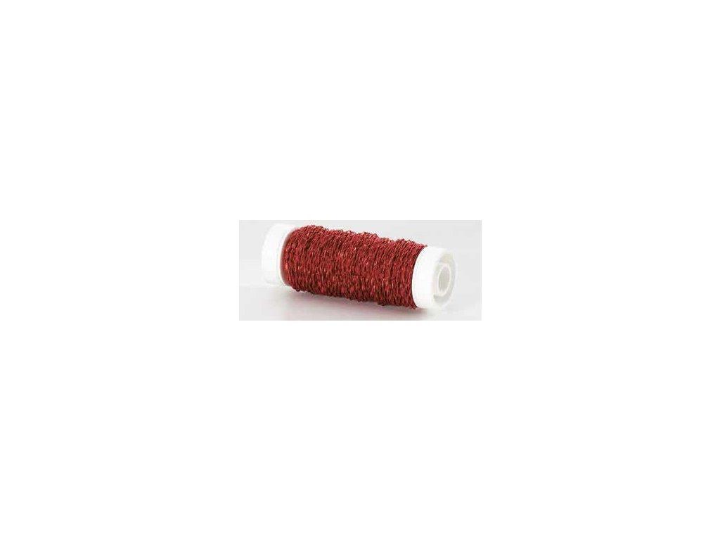Drátek vlnitý 0,3mm červená 01