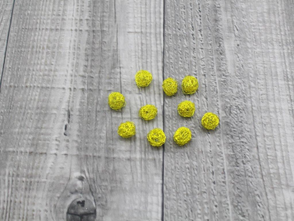 Drátkové kouličky vlnité žlutá 23