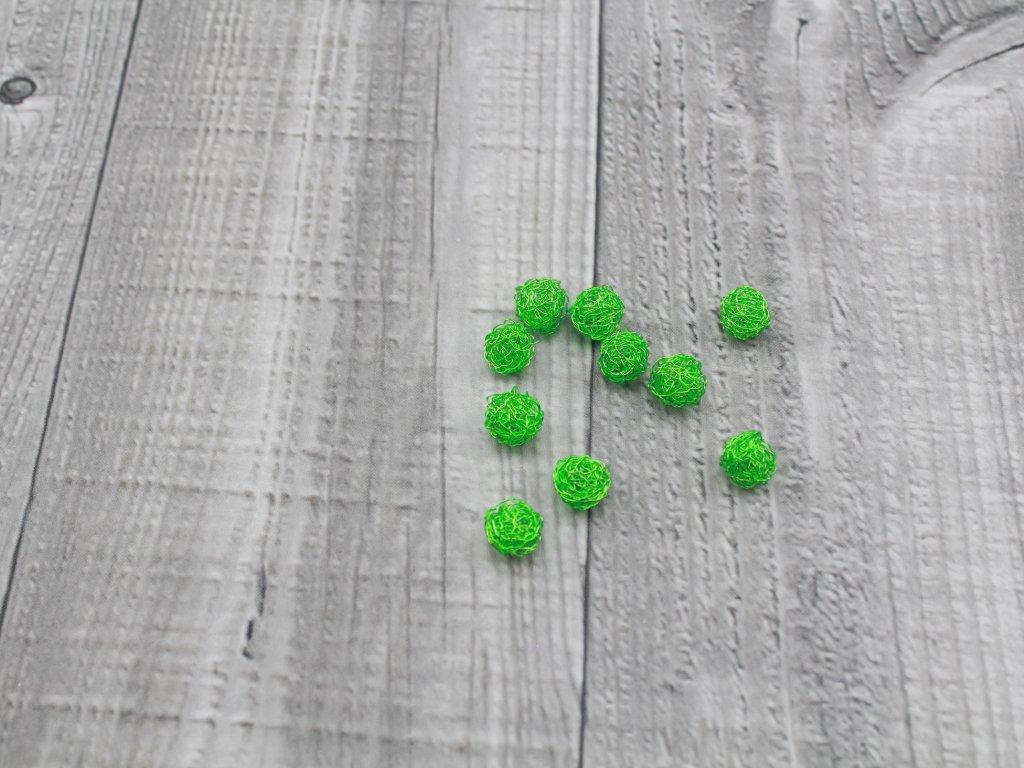 Drátkové kouličky vlnité neon zelená 33