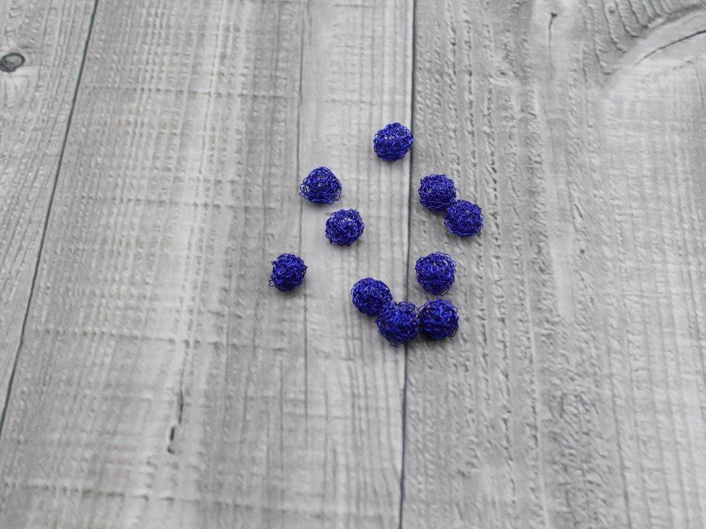 Drátkové kouličky vlnité modrá 11