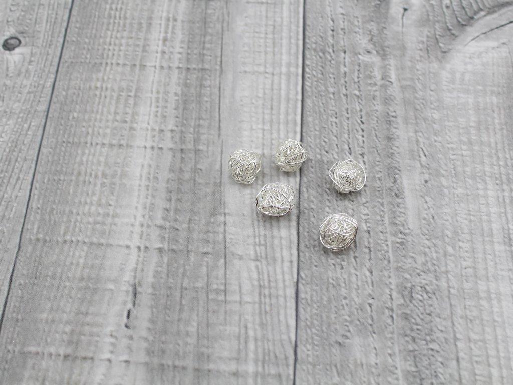 Drátkové kouličky hladké stříbrná 05