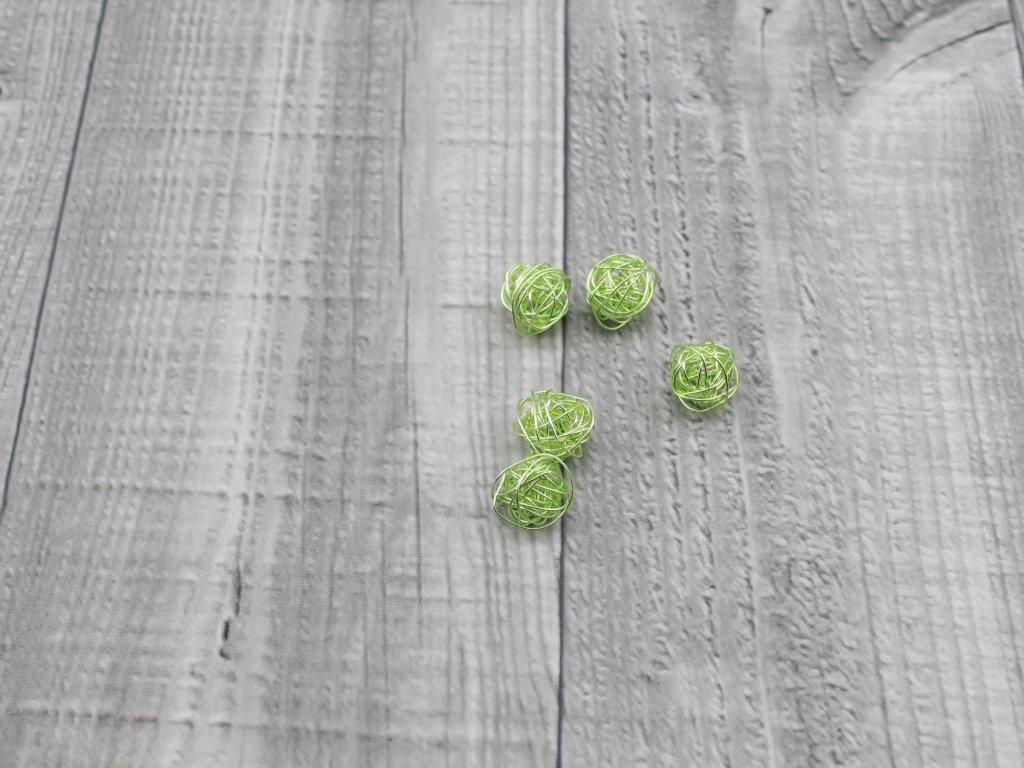 Drátkové kouličky hladké mint zelená 34