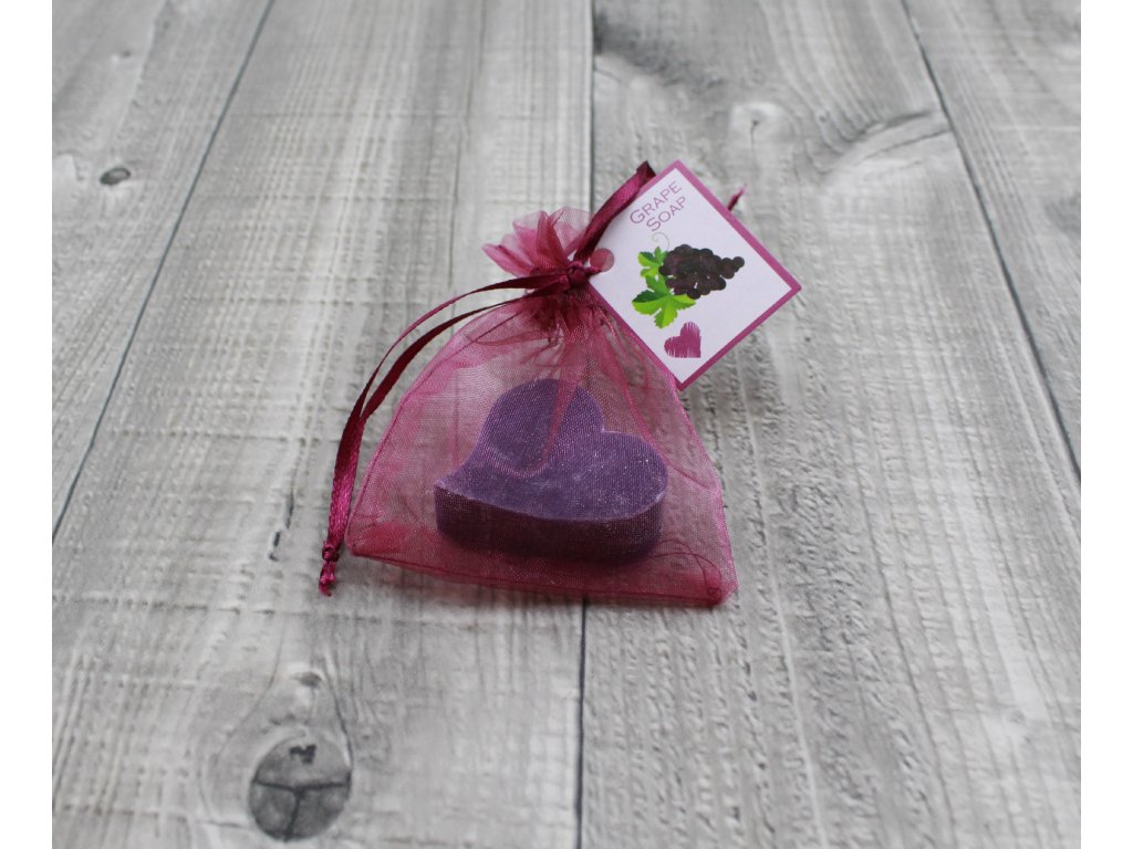 Mini mýdlo srdce ploché tmavě fialové 20g