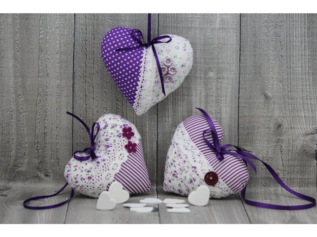 Srdce závěsné fialové