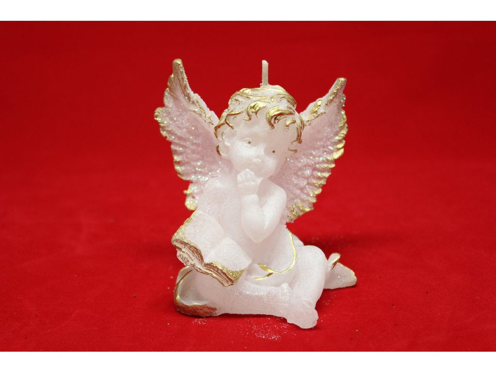 Svíčka anděl s knihou