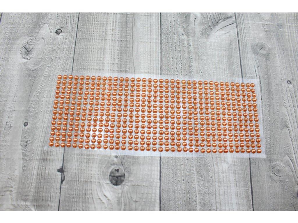 Perličky nalepovací 6mm-oranžová