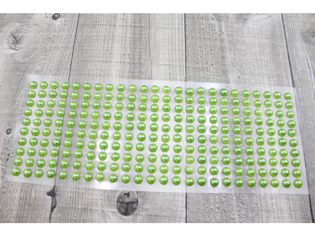 Perličky nalepovací 8mm- světle zelená