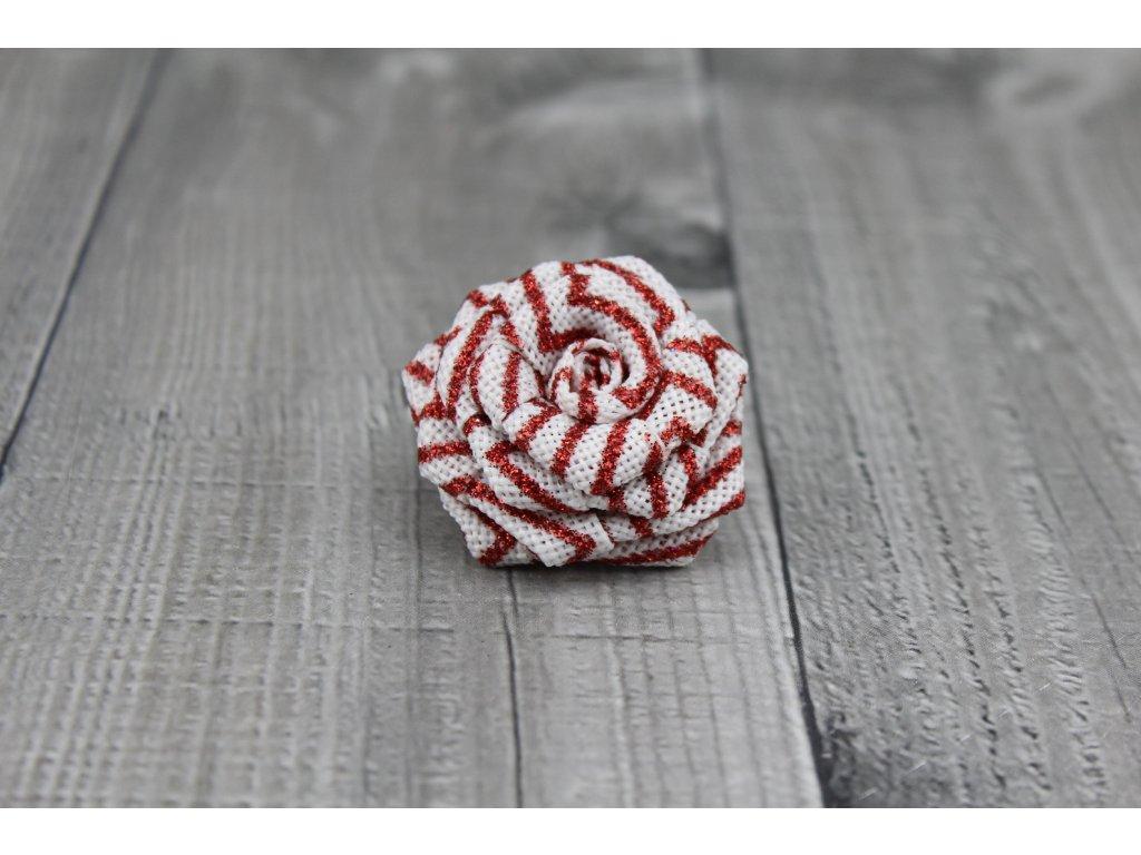 Růžička juta-bíločervená
