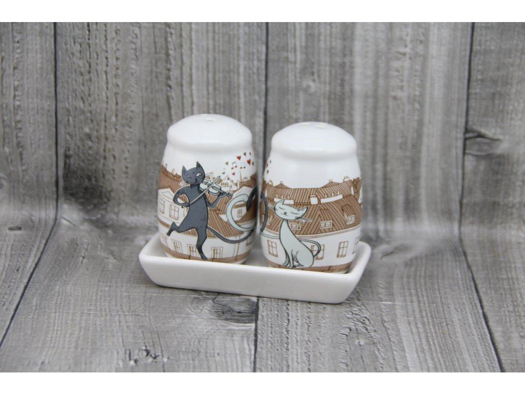 Souprava porcelánová sůl+pepř, kočky