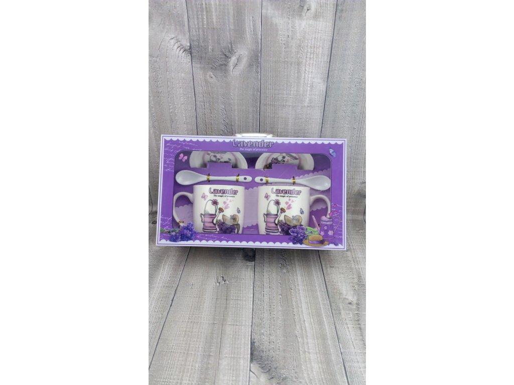 Hrnky porcelánové v kufříku s motivem levandule