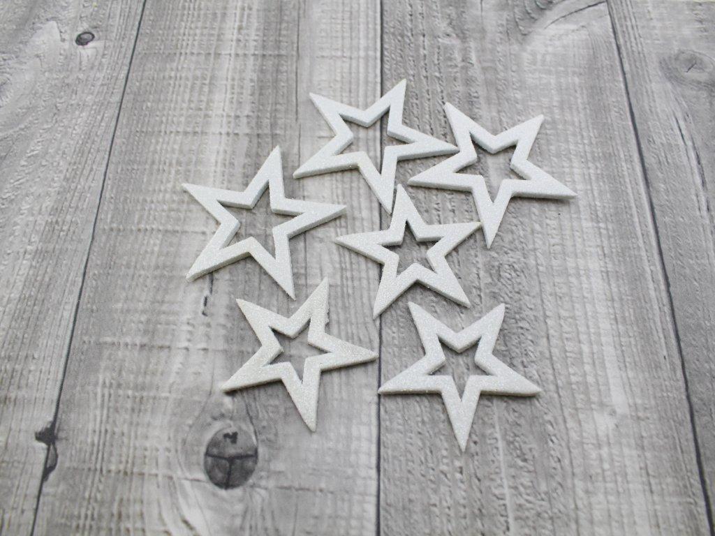 Hvězdičky glitrové sada 6 ks. bílé