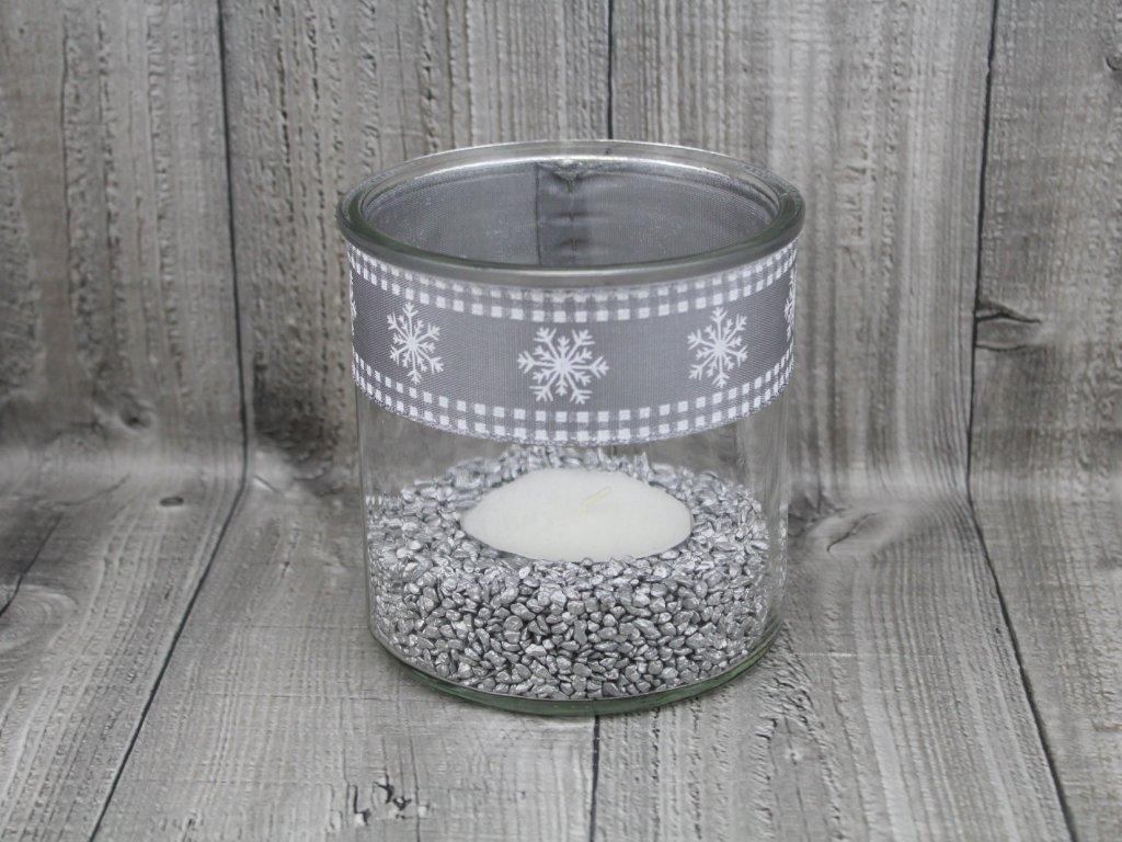 Svícen sklo velký-stříbrnobílý