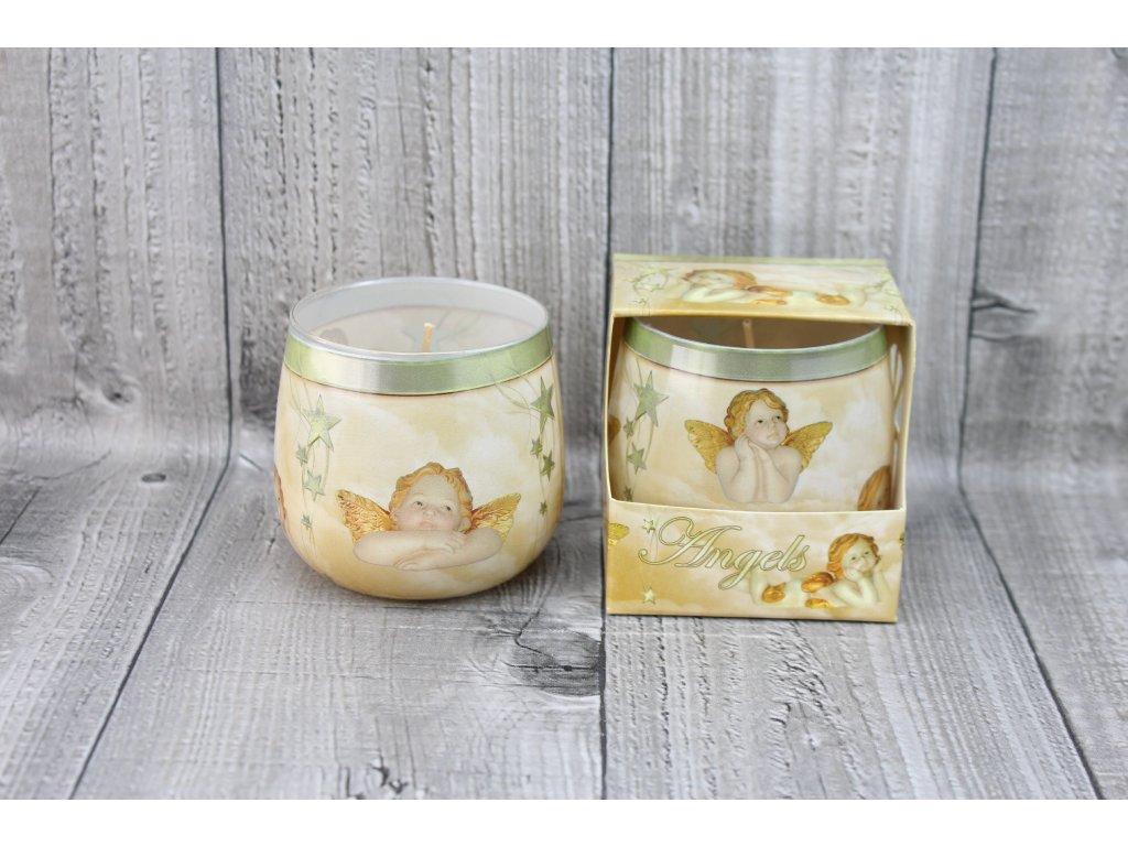 Svíčka ve skle vánoční-anděl