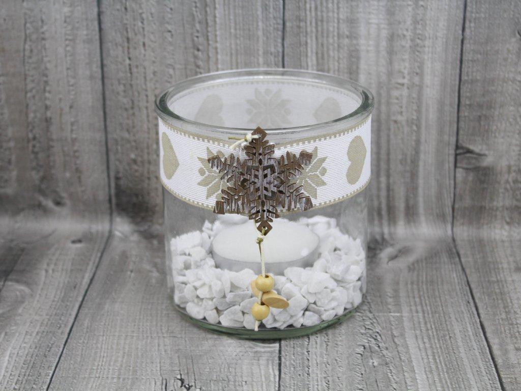 Svícen sklo velký-bílý vánoční