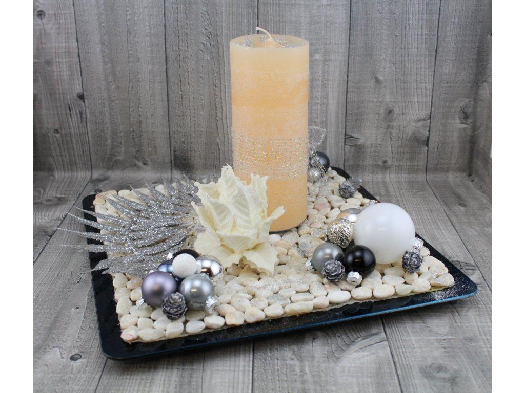 Svícen vánoční-šedostříbrný