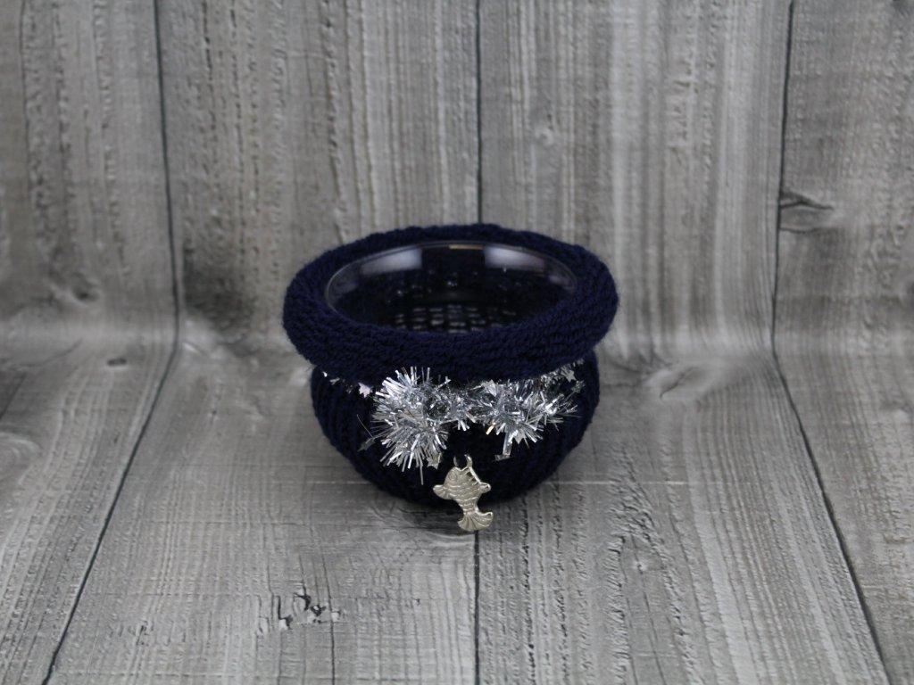Svícen baňka opletený-modrý temný