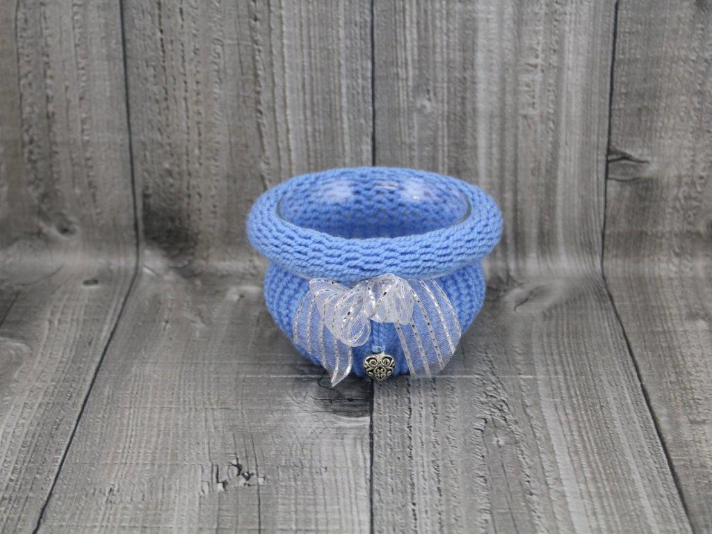 Svícen baňka opletený-modrý světlý
