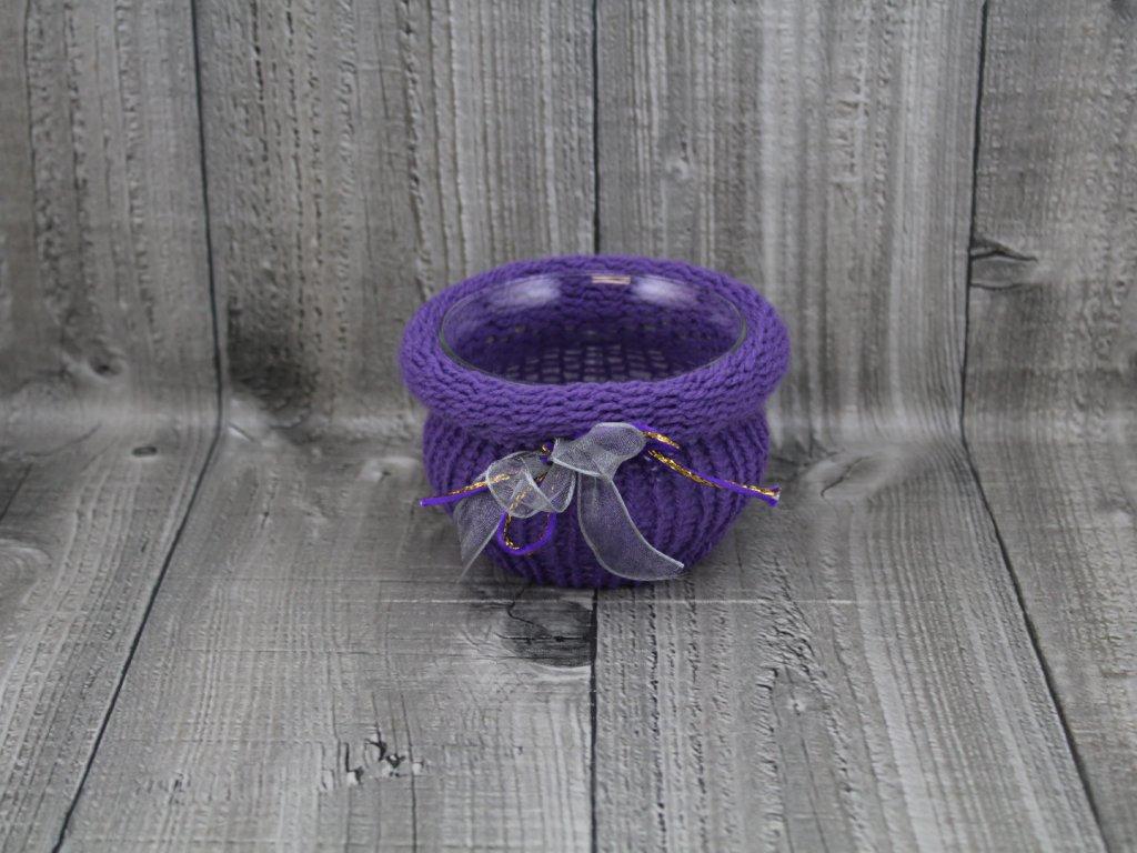 Svícen baňka opletený-fialková