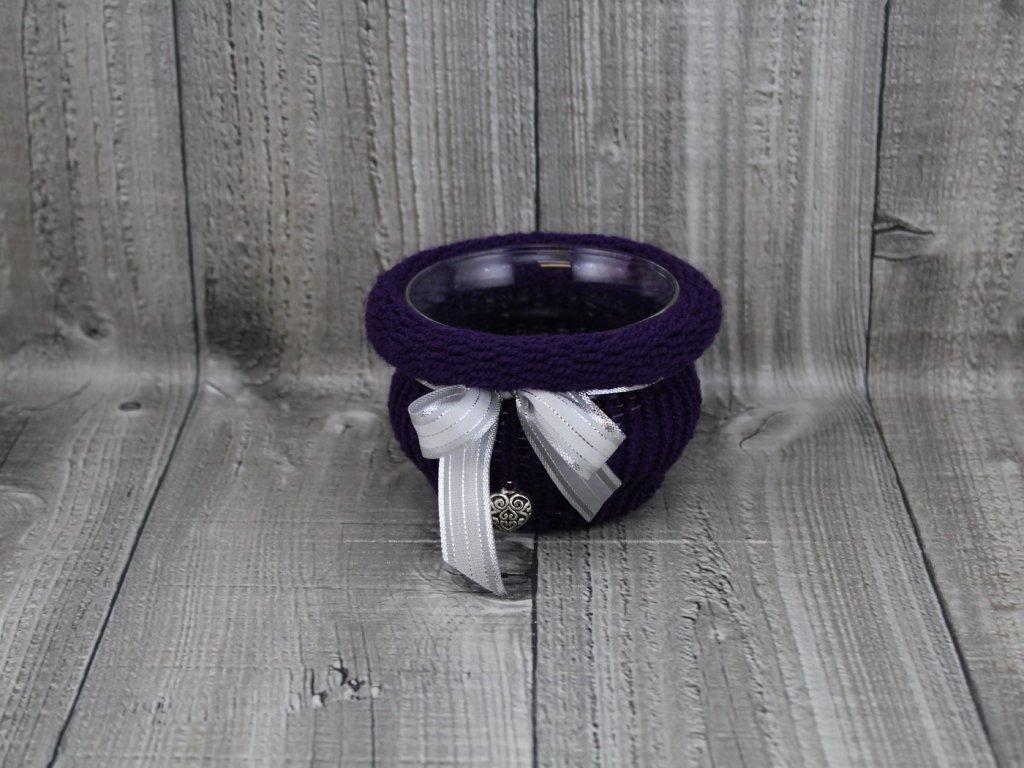 Svícen baňka opletený-fialový tmavý