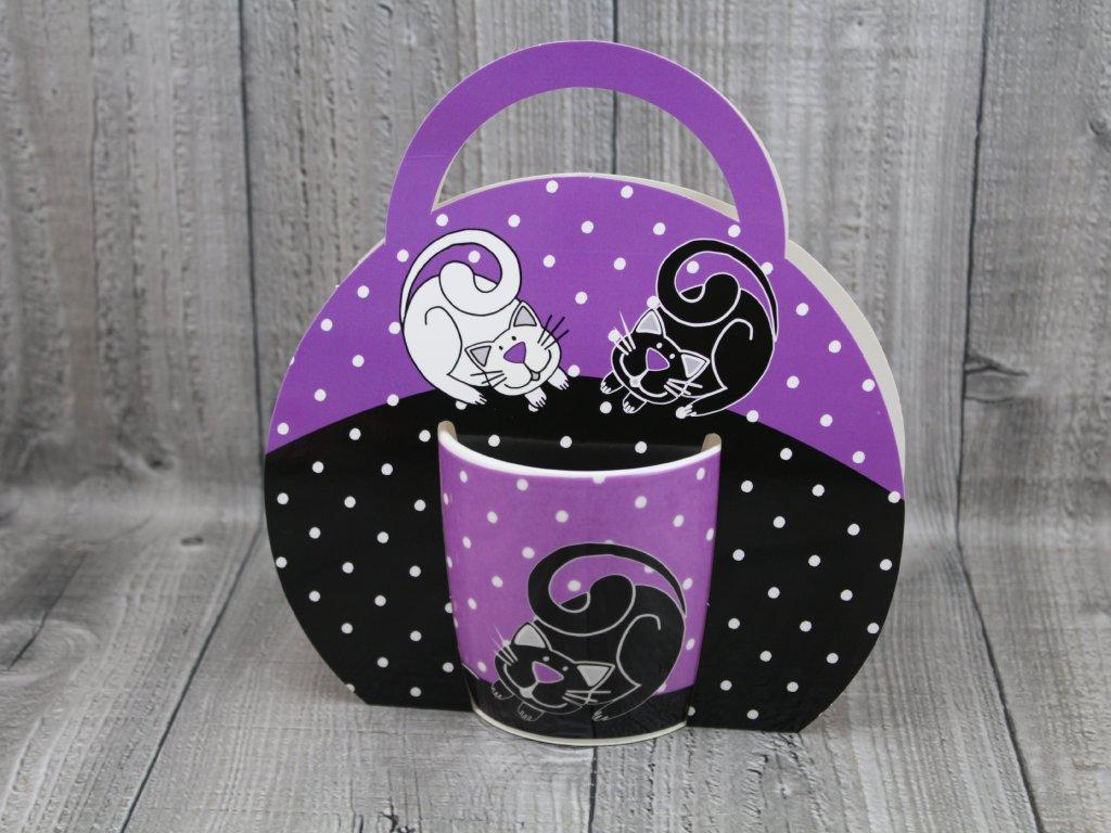 Hrnek porcelán 0,3l v tašce,fialové kočky