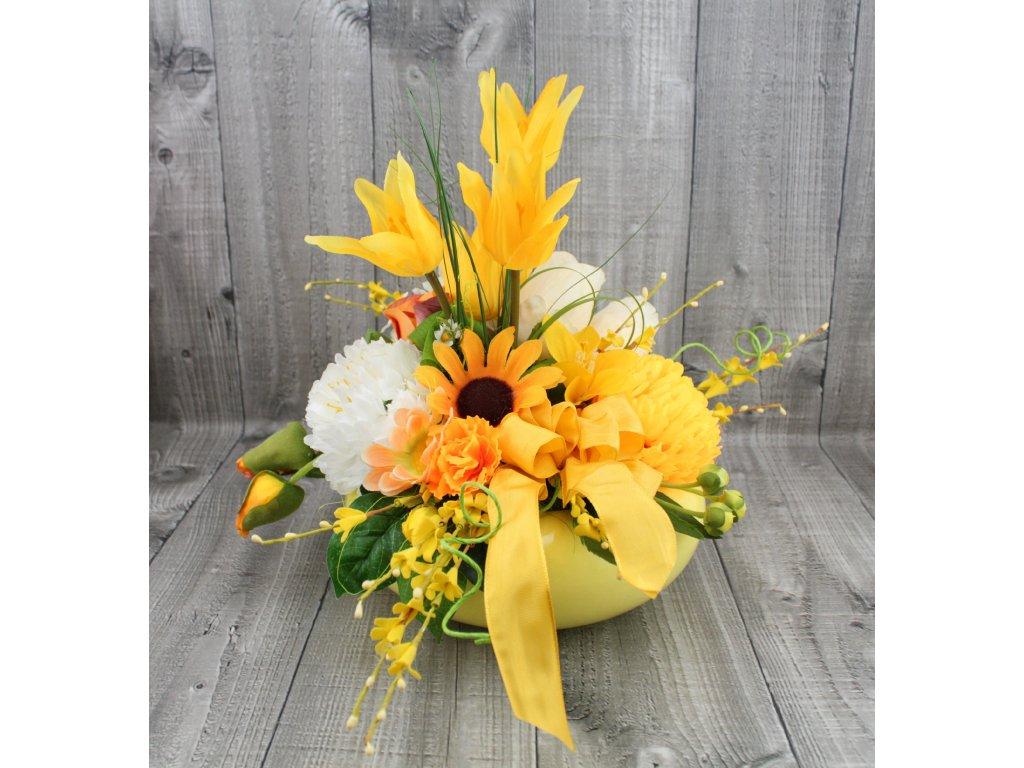Dekorace jarní žlutá s tulipány