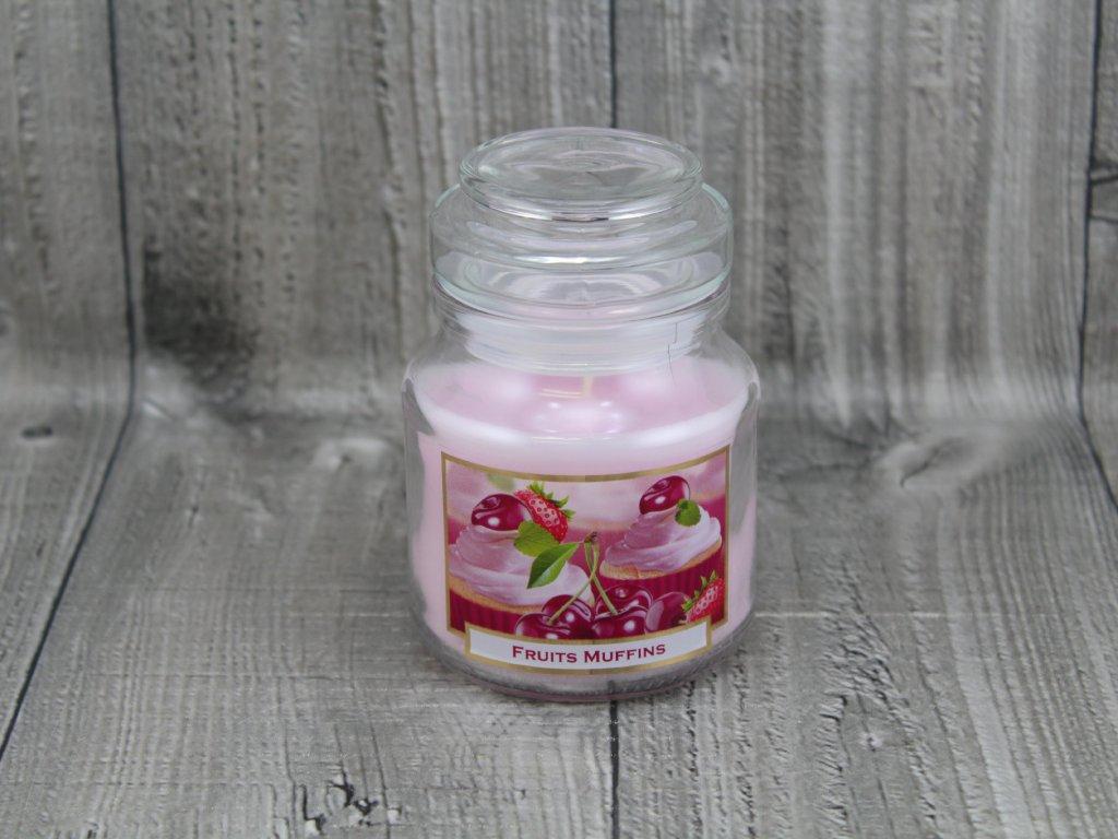 Svíčka ve sklenici fruits muffins-třešeň
