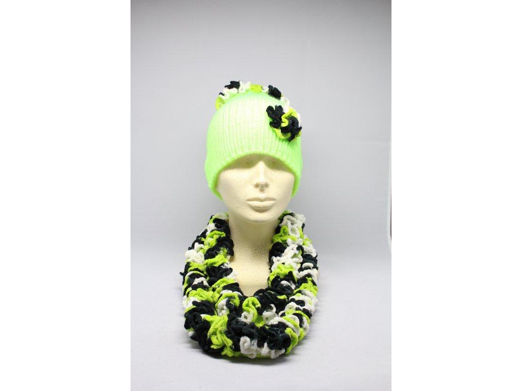 Čepice a šála pletená