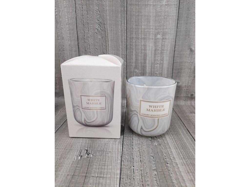 Svíčka ve skle-WHITE MARBLE