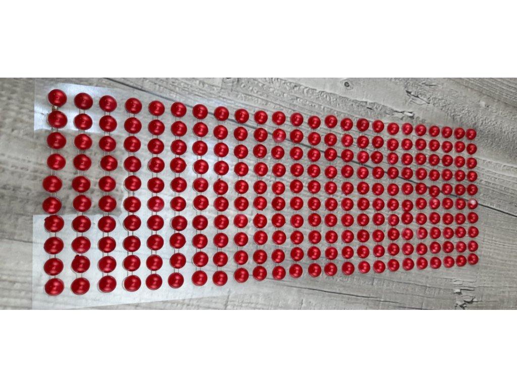 Perličky nalepovací 8mm-červená