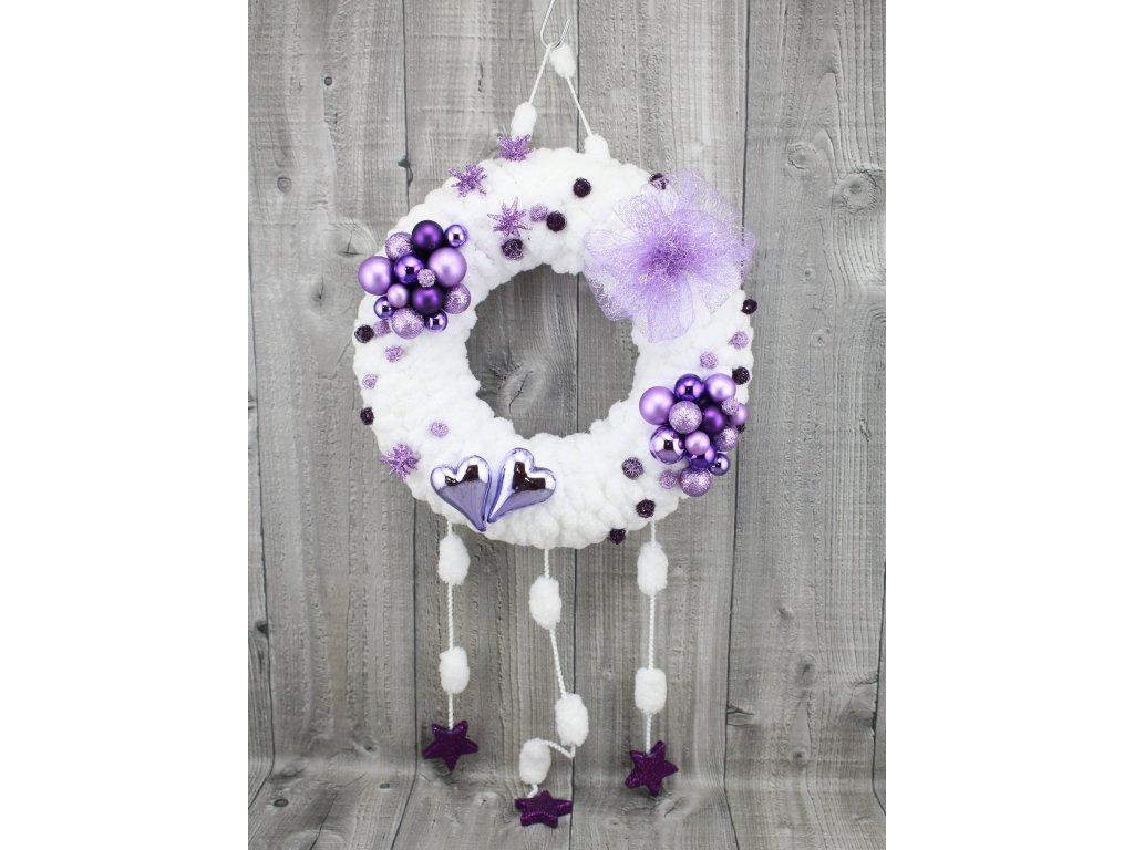 Věnec z vlny=sněhově bílá fialová