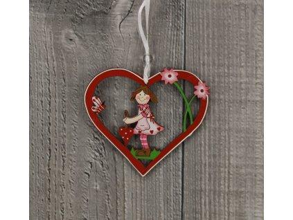 Srdce dřevěné s panenkou
