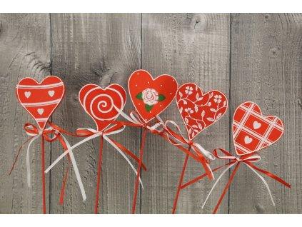 Srdce dřevěné s mašličkou