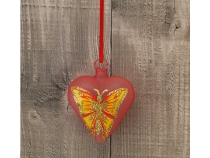 Srdce skleněné žlutý motýl