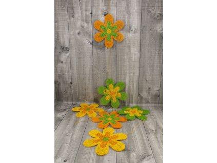 Girlanda květy sisal 15cm oranžová