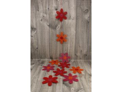 Girlanda květy sisal 10cm červené