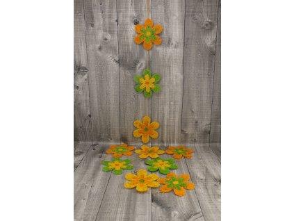 Girlanda květy sisal 10cm oranžové