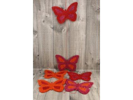 Girlanda motýl 17cm červený