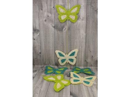 Girlanda motýl 17cm zelený