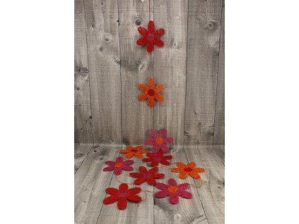 Girlanda květy sisal 7cm červená