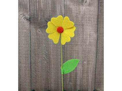 Květ filc žlutý