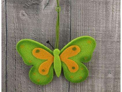 Motýl filcový zelený