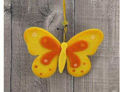 Motýl filcový žlutý
