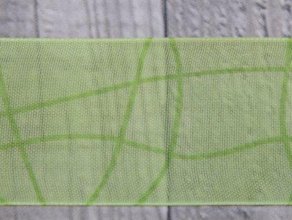 Stuha 40mm vlnka/zelená