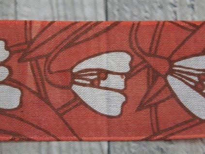 Stuha 40mm sněženka/červená