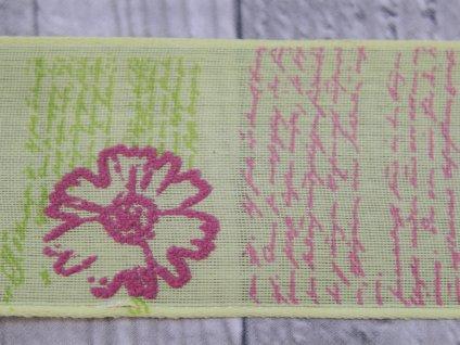 Stuha 40mm květinový vzor